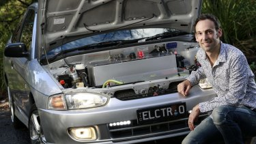 Justin Harding has converted a Mitsubishi Lancer to use an electric motor and batteries.