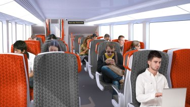 The intercity trains will have two-by-two seating on their upper and lower decks.