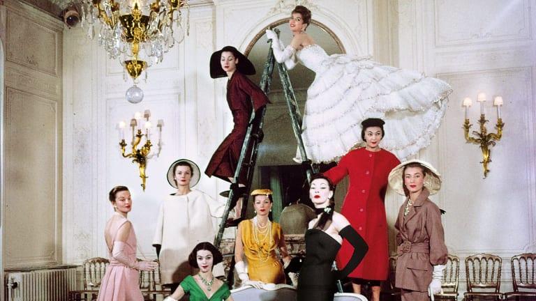 Christian Dior models in the House of Dior's Paris headquarters, 30 Avenue Montaigne, Paris 1957.
