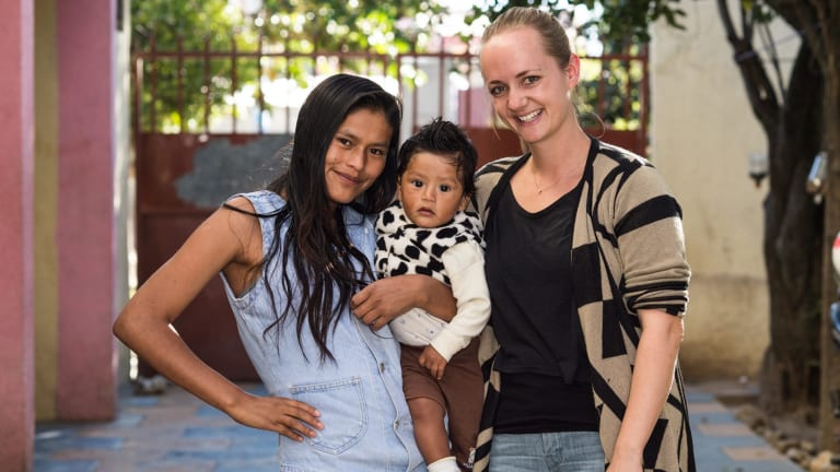Tessa Henwood-Mitchell, right, founded TIA international Aid to help orphans in Bolivia move on with their lives.