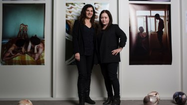 Talia Linz, left, and Alexie Glass-Kantor, co-curators of <i>The Public Body .02</I> at ArtSpace, have brought together the work of more than 40 artists.
