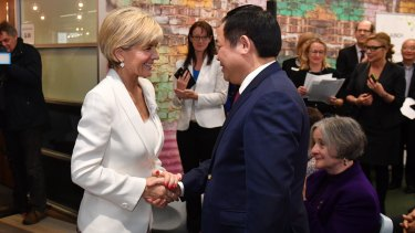 Foreign Affairs Minister Julie Bishop and Vietnamese Deputy Prime Minister Vuong Dinh Hue in Canberra on Tuesday.