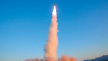 A North Korean Pukguksong-2 is launched at an undisclosed location on Ferbruary 12, 2017.