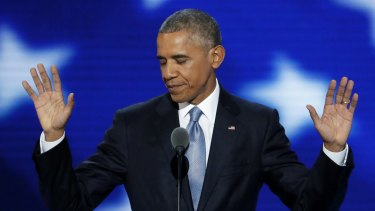 President Barack Obama gestures during his Democratic National Convention speech.