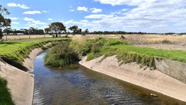 The drainage channel that runs through the site in Werribee where radioactive cow carcasses have been buried.