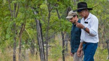 The Australian Conservation Foundation's Andrew Picone (left) with Olkola elder Michael Ross.