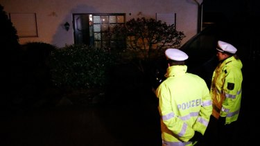 German police in front of the house believed to belong to the parents of Andreas Lubitz on Thursday.