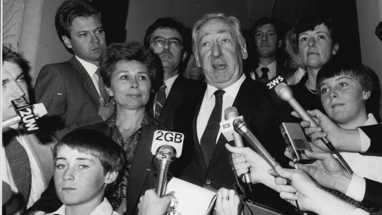 Lionel Murphy and family face face the media in 1986.