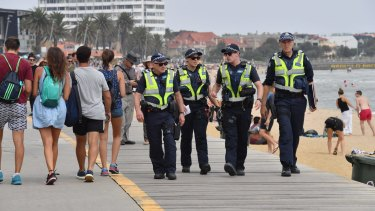 Police patrol St Kilda foreshore on Australia Day.