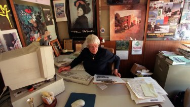Ella Ebery at work on the North Central News, St Arnaud.