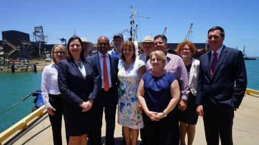 Adani Australia chief executive Jeyakumar Janakaraj (third from left), met with local politicians and business leaders last December including Queensland Premier Annastacia Palaszczuk (on his right) and Townsville Mayor Jenny Hill (on his left).