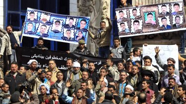 Relatives of the kidnapped Egyptians had protested in Cairo for the release.