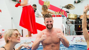Olympic swimmer James Magnussen takes a dip in the Mumm marquee on Melbourne Cup Day, 2016.