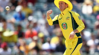 Talk of the town: George Bailey models a wide-brimmed hat at the WACA.
