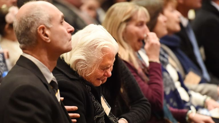 Family members of MH17 victims attend the National Memorial Service marking the first anniversary of the tragedy in the Great Hall in Parliament House in July.