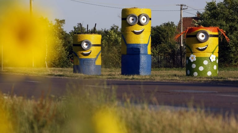 Their appeal is global: Here, Minions are made made from straw balesin Tiszaigar, 150 kms east of Budapest.