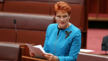 "In her first speech in the Senate last week, Pauline Hanson said Australia was in danger of being ""swamped"" by Muslims."