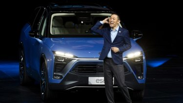 William Li, Founder and Chairman of Chinese automaker NIO launches the NIO ES8 electric SUV.