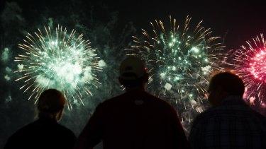 Skyfire celebrations at Lake Burley Griffin.