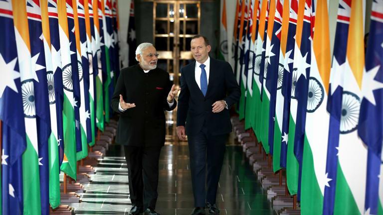 Mr Modi and Mr Abbott during the Indian Prime Minister's 2014 visit.