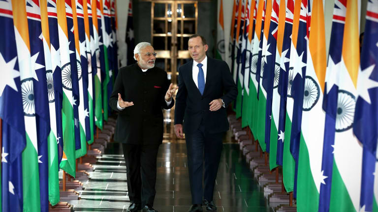 Mr Modi and Mr Abbott during the Indian Prime Minister's 2014 visit.