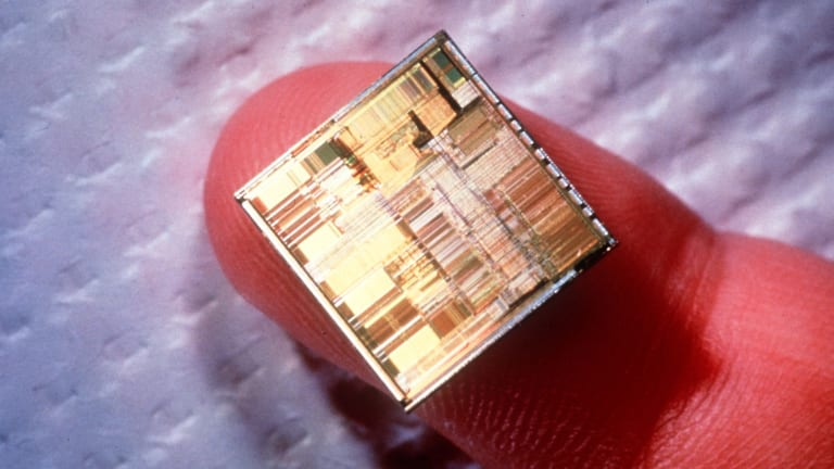The Intel Pentium processor microchip, microprocessor.
