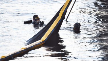 Divers search the water for Carl Salomon.