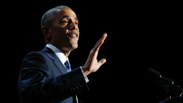 US President Barack Obama gives his farewell address at McCormick Place in Chicago.