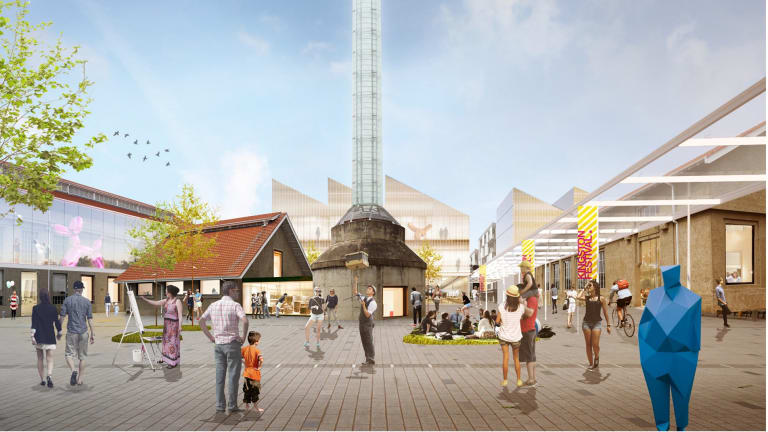 Artist's impression of the Kingston Arts Precinct taking in the Canberra Glassworks proposed in the ACT government's feasibility study for the site.