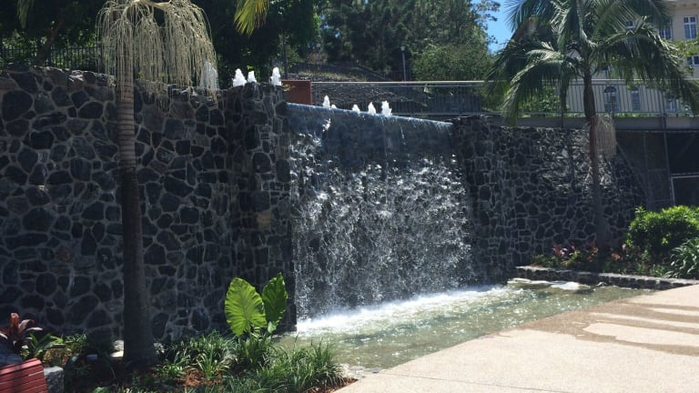 The fountain at Emma Miller Place is flowing again.