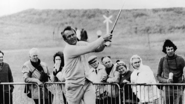 1970: Arnold Palmer drives from the 18th on the Muirfield course during a practice round prior to the British Open.