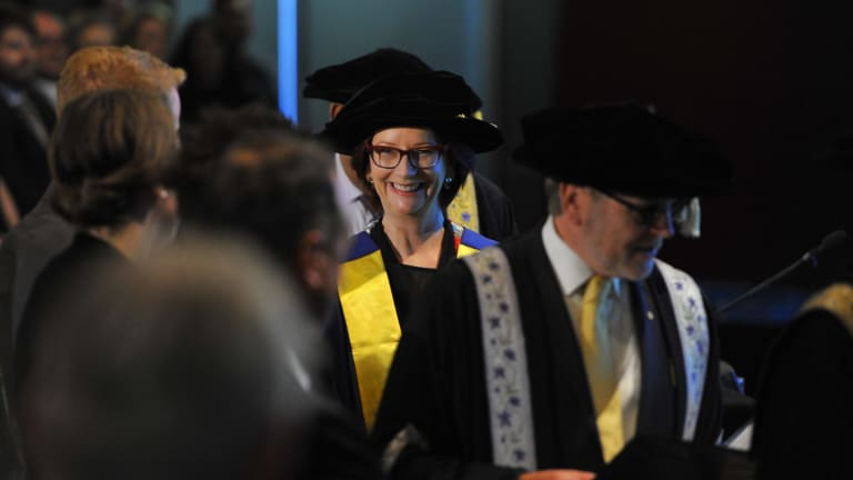 Former prime miniser Julia Gillard receives an honorary doctorate from the University of Canberra.