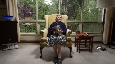 Winifred Hirst, 92, and her cat Lexi. Mrs Hirst has lived in her four-bedroom home in Melbourne's east for 56 years.