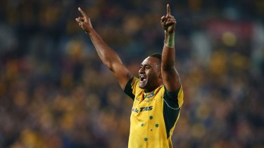 Tevita Kuridrani of the Wallabies celebrates victory.