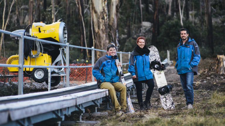 Dane Liepins, Emma Fish and Andrew Snell on the ski slope at Corin Forest.   27 May 2016 Photo by Rohan Thomson The Canberra Times