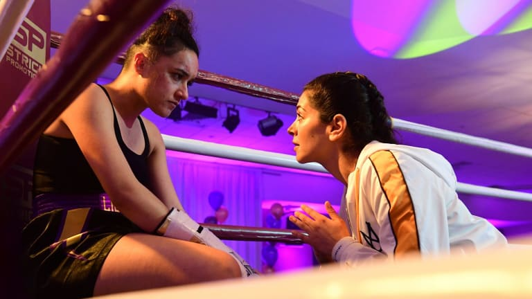 Nicole Chamoun plays Amirah Al-Amir, a young woman determined to make it as a boxing trainer, in On the Ropes.