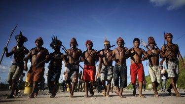Amazon Indians near Altamira in Para State, Brazil in 2013.