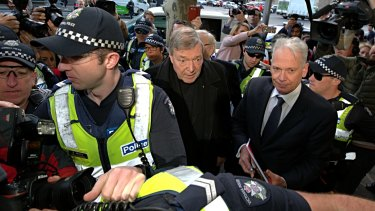 Cardinal George Pell, as he arrived at Melbourne Magistrates Court about 9am on Wednesday.