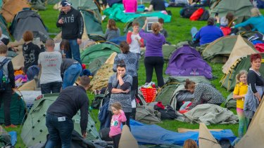 """Families set up to camp under the stars """"just like the Diggers did""""."""