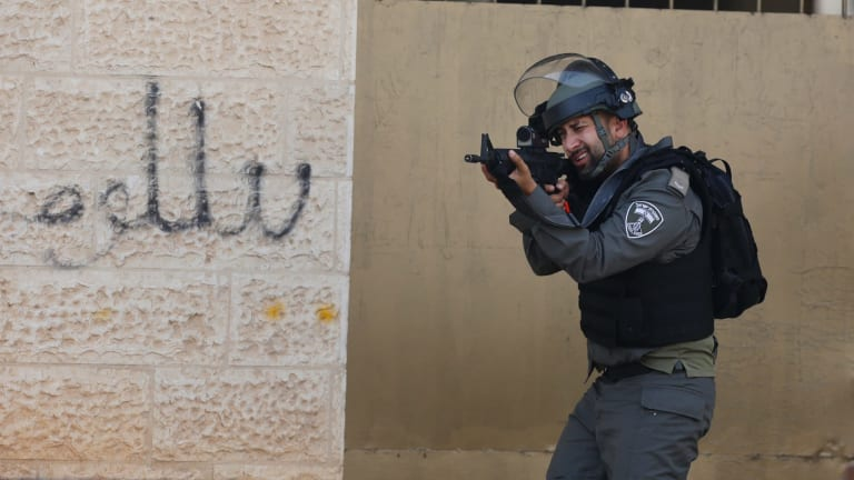 An Israeli policeman during clashes in the  city of Bethlehem in the Israeli-occupied West Bank.