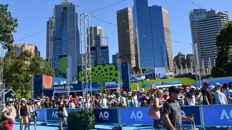The Tanderrum Bridge entrance at Melbourne Park.