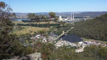 Springvale mine (foreground) supplies coal to the Mount Piper power station.