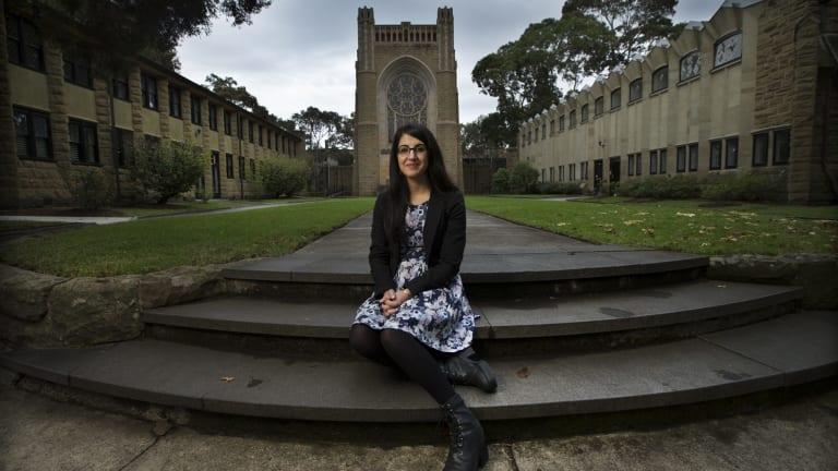 Theresa Chamoun, 22, at Newman College chapel.