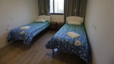 Beds stand ready in the bedroom of an apartment of the Olympic Village in Rio.