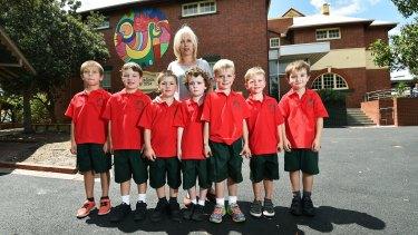 Teacher Dimi Beratis with her Hampton Primary School prep class.