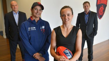 New ground: Michelle Cowan (second from left), Peter Jackson, Daisy Pearce (second from right) and Josh Mahoney.