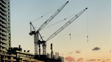 Construction in Docklands, a hotspot for apartment construction in Melbourne.