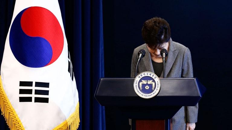South Korean President Park Geun-Hye bows during an address to the nation on November 29.