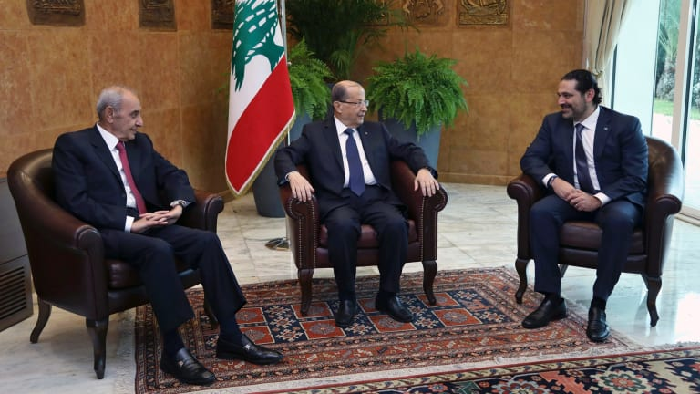Lebanese President Michel Aoun, centre, meets with PM Saad Hariri, right, and Parliament Speaker Nabih Berri, left, at the Presidential Palace in Baabda.