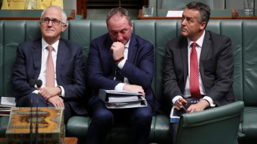 Prime Minister Malcolm Turnbull, Deputy Prime Minister Barnaby Joyce and Minister Darren Chester during question time at Parliament House.
